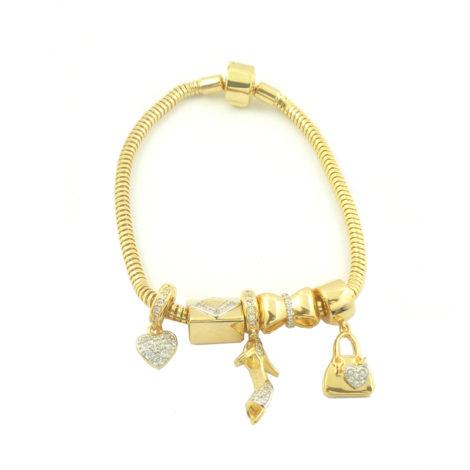 bracelete brilho folheados 5 charms berloques semijoia antialergica banhado ouro dourado sem niquel sabrina joias