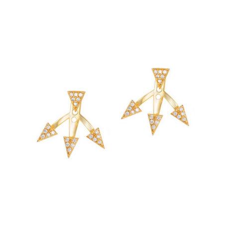 brinco ear cuff triangulos banhado ouro amarelo 18k cravejado zirconia semijoia antialergica brilho folheados sabrina joias 1689391