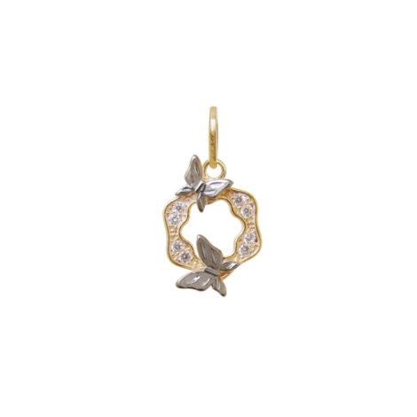 pingente pequeno mandala 2 borboletas cravejado zirconia banhado ouro 18k dourado semijoia antialergica nickel free brilho folheados bruna semijoias MB1153