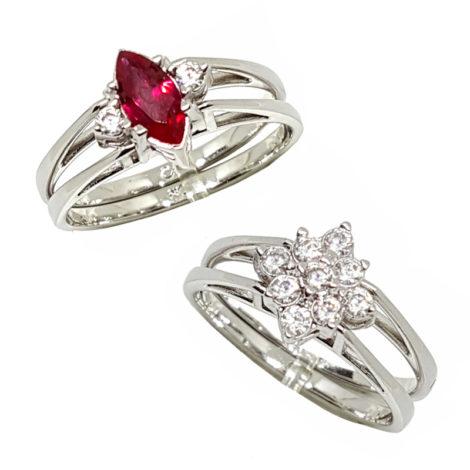 R1910672 anel 2 faces com parte para formatura cristal rubi e outra parte anel delicado com flor de zirconias brilho folheados sabrina joias