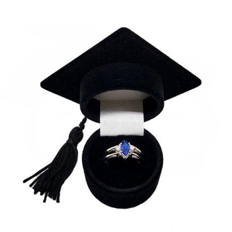 R1910672 anel de formatura cristal azul safira com embalagem chapeu de formautra brilho folheados sabrina joias