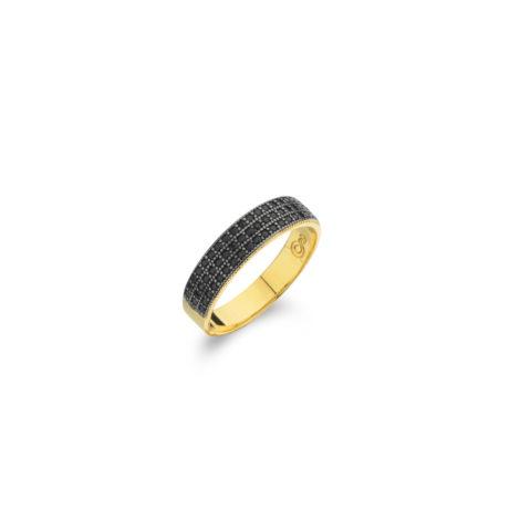 anel delicado cravejado zirconias negras 1910494