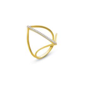 anel feminino vazado fileira zirconia banhado folheado ouro amarelo brilho folheados sabrina joias 1910442
