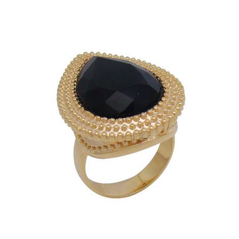 anel gota cristal preto textura bolinhas banhado folheado ouro dourado semijoia antialergica brilho folheados bruna semijoias AB1538