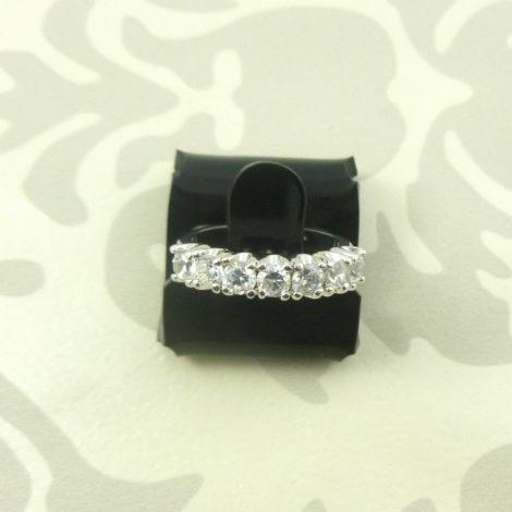 anel meia fileira zirconia banhado folheado ouro branco bruna semijoias AB1378