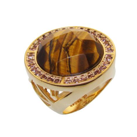anel redondo cristal olho tigre banhado ouro zirconias borda brilho folheados bruna semijoia AB1564