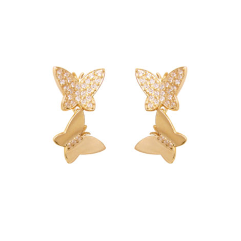 brinco duas borboletas cravejadas zirconias bruna semijoias brilho folheados BB 2164 5