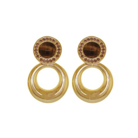 brinco redondo pendulo cristal marrom olho tigre brilho folheados bruna semijoias BB2605