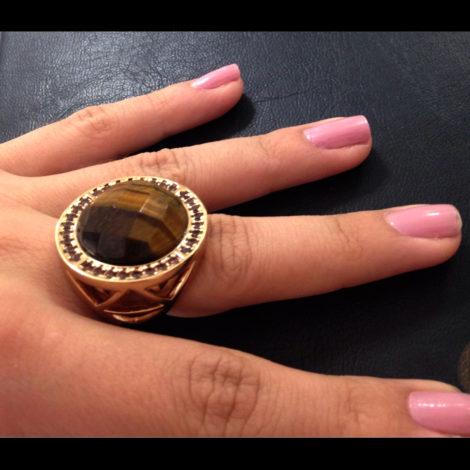 maxi anel pedra cristal marrom olho tigre bruna semijoias
