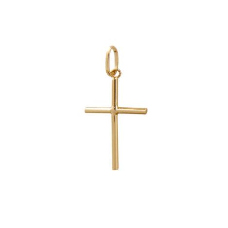 pingente cruz pequena lisa folheada banhada ouro brilho folheados MB0955