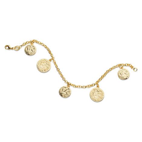 pulseira medalhas sao bento banhado folheado ouro amarelo brilho folheados sabrina joias 1713500