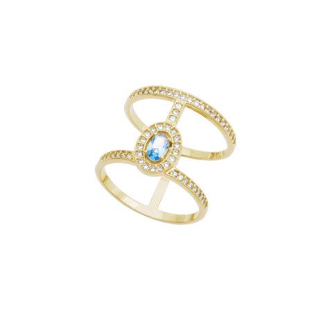 anel 2 aros vazados mini cristal azul todo cravejado zriconia banhado folheado ouro 18k semijoia colecao athena marca bruna semijoias AB1656
