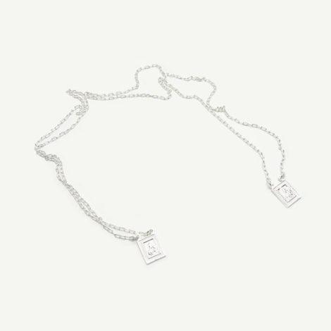 escapulario 2 medalhas mini sagrado coracao jesus nossa senhora aparecida oracoes 60cm folheado prata