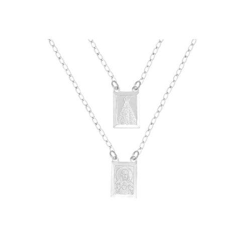 escapulario medalhas retangular sagrado coracao jesus nossa senhora aparecida oracao folheado prata