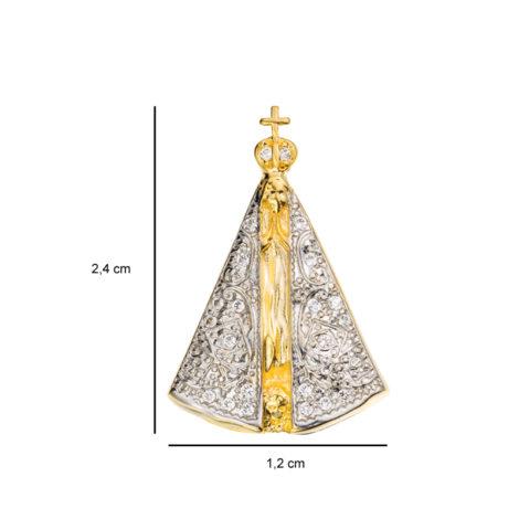 medalha nossa senhora aparecida manto ouro branco 1800036