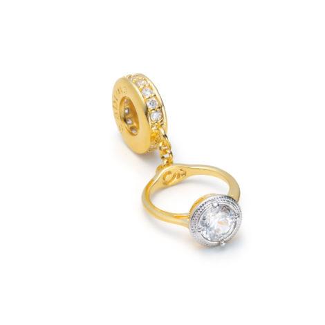 pingente berloque anel solitario pedra sabrina joias brilho folhados 1800243