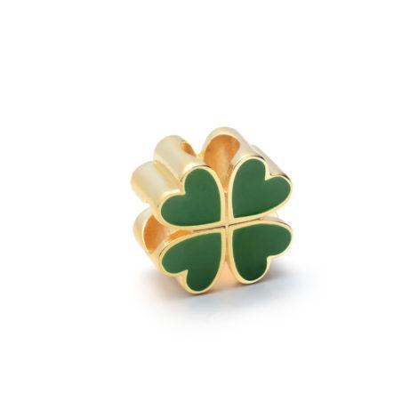 pingente berloque trevo da sorte esmaltado verde banhado ouro sabrina joias brilho folheados 1800232