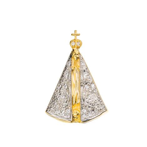 pingetne nossa senhora aparecida medio manto ouro branco folheado ouro dourado semijoia Sabrina 1800036