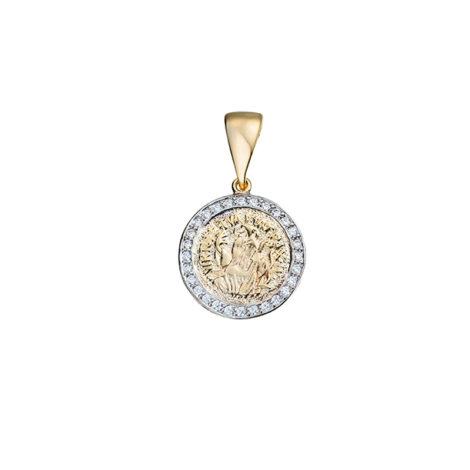 1828600 pingente medalha medio sao bento cruz sagrada verso cravejado zirconias brilho folheados sabrina joias