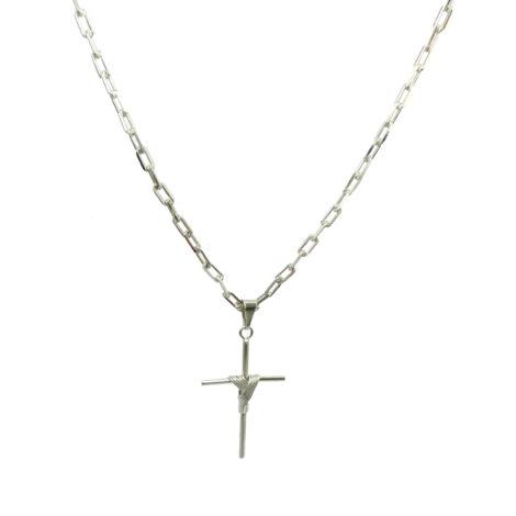 colar masculina pingente cruz banhado rodio