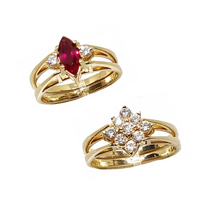 3c2a4208e3266 Anel de formatura feminino cristal delicado 2 em 1 dourado