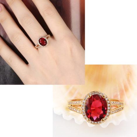 anel formatura infantil pedra oval rubi com zirconias branas anel folheado ouro amarelo 18k
