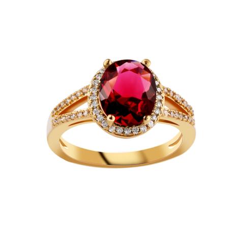 anel formatura pedra oval rubi cravejado com zirconias brancas joia folheada ouro amareo18