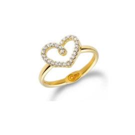 anel cravejado em forma de coraco banhado folheado ouro 18k brilho folheados sabrina joias 544801