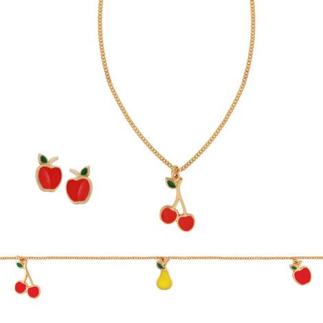 conjunto infantil frutinhas pulseira brinco colar bruna semijoias brilho folheados