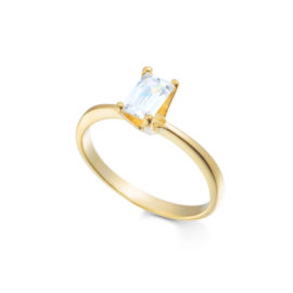 anel solitario pedra retangular zirconia banhado folheado ouro amarelo 18k