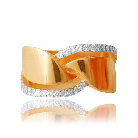 anel banhado ouro detalhe vazado cravejado zirconia semijoia brilho folheados sabrina joias 1910379