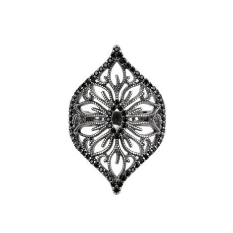 Anel Arabesco Flor Rendada Ródio Negro