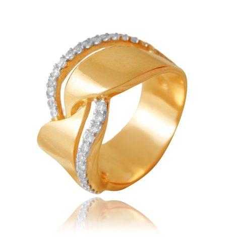 anel gold vazada cravejado zirconia 1910379