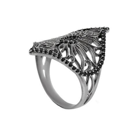 anel losango flor rendada brilho folhados RN1910519