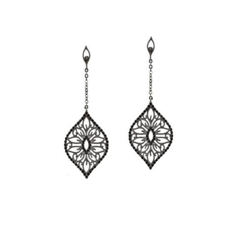 brinco arabesco rodio negro zirconia negra sabrina joias brilho folheados 1689443