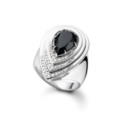 maxi anel gotas tripla R1910193 cristal preto brilho folheados banhado rodio