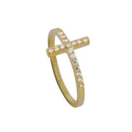 Anel Cruz Delicado Zircônia Banhado Ouro
