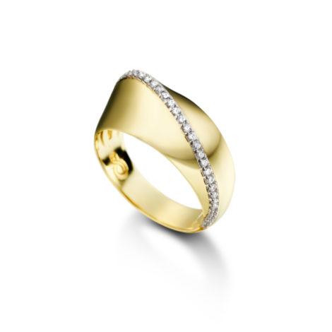 anel saltado zircônias banhado folheado ouro amarelo