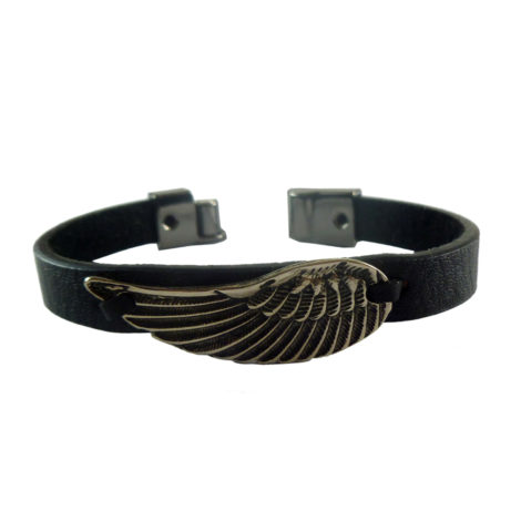 pulseira couro masculina asa anjo