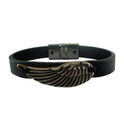 pulseira couro masculina asa anjo fecho ima seguro frete gratis brilho folheados