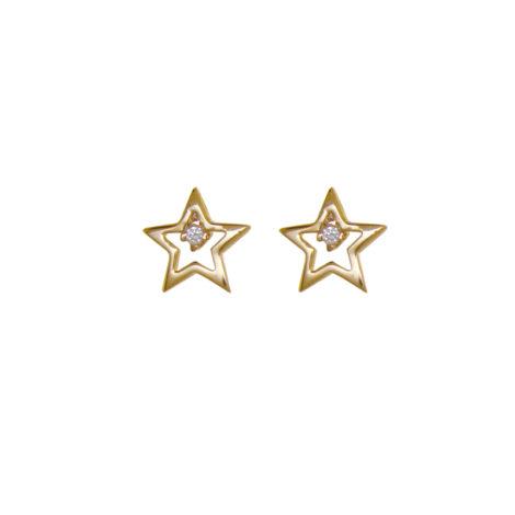 BB 2649 brinco estrela pequena vazada bruna semijoias brilho folheados