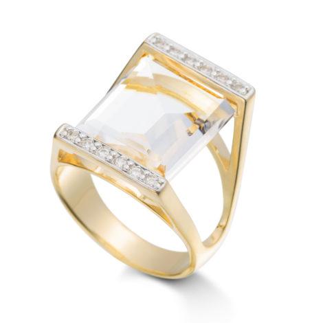 anel banhado ouro gema amarelo pedra cristal zirconias brilho folheados