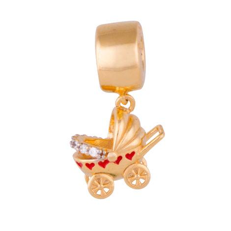 Berloque Carrinho Bebê Banhado ouro 18k