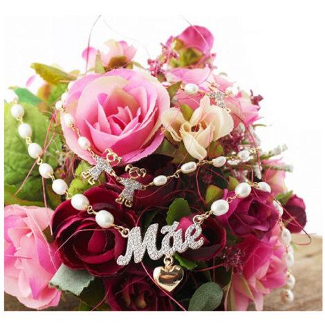 colar mae perolas brilho folheados foto bouque flores