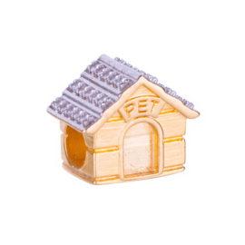 1800303 berloque casa cachorro cravejado com zirconia folheado ouro 18k sabrina joias brilho folheados
