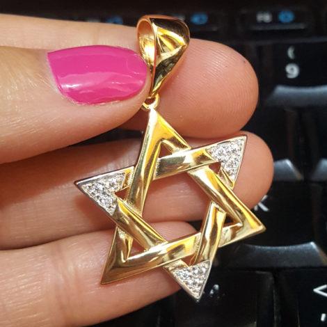 1805200 pingente estrela davi folheado a ouro dourado 18k com zirconias sabrina joias brilho folheados