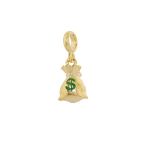 Berloque Saco de Dinheiro Banhado ouro