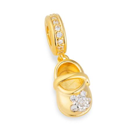 berloque sapatinho boneca banhado ouro amarelo 18k zirconia brilho folheados bruna semijoias 1800174