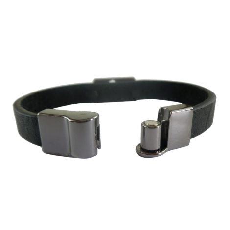 pulseira couro fecho magnetico ima brilho folheados