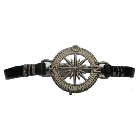 pulseira couro masculina bussola brilho folheados